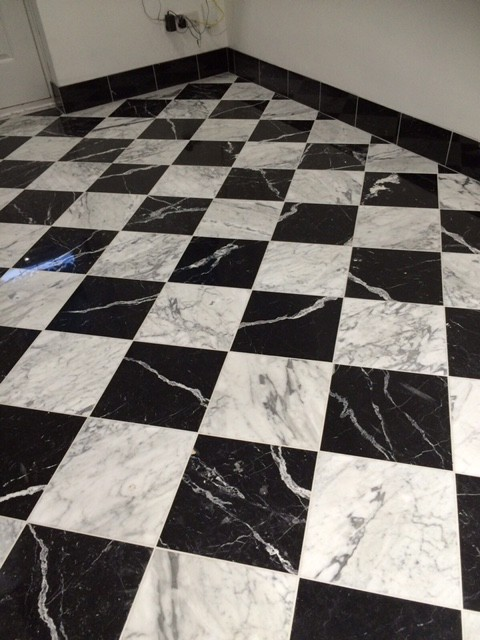 Chess Effect Nero Marquina and Calcatta floor example