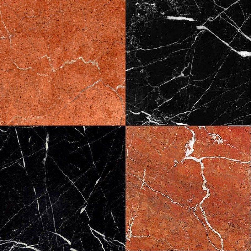 Chess Effect Nero Marquina & Rojo Alicante marble tile