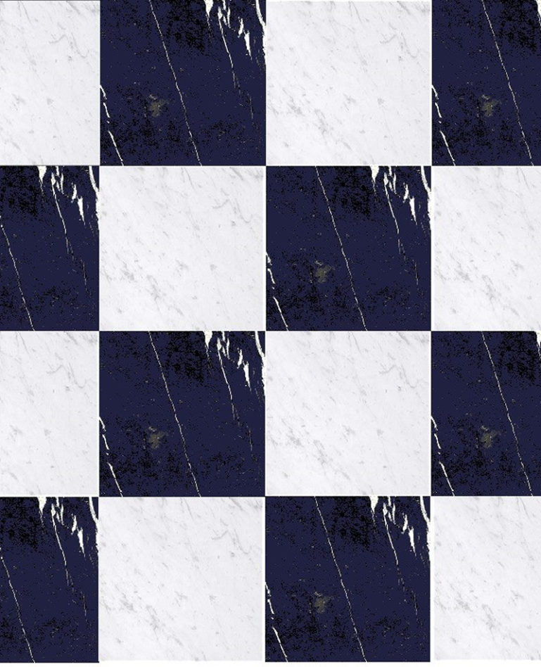 Chess Effect Bianco Carrara & Nero Marquina Marble Mosaic